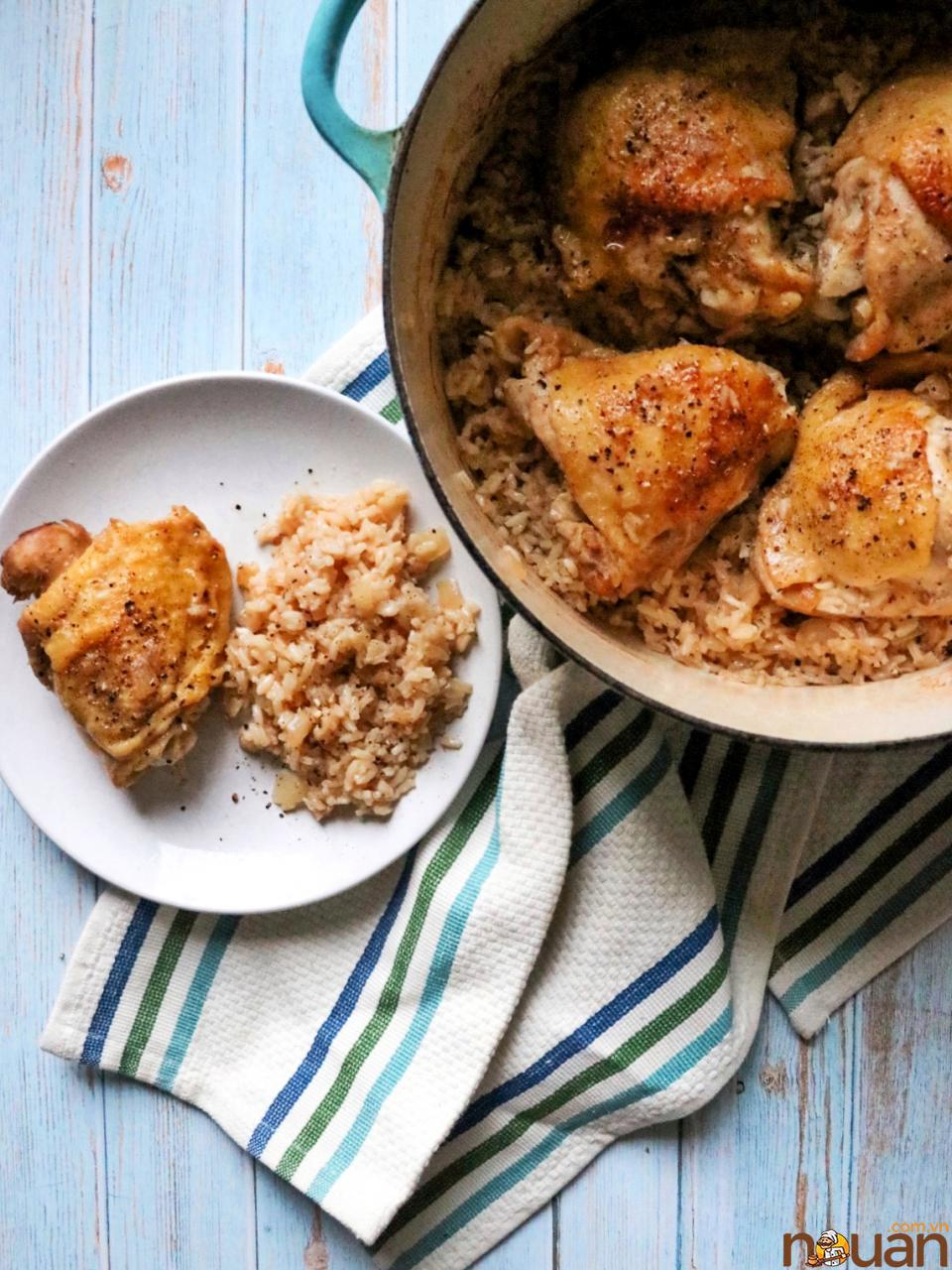 """This chicken and rice dinner is comforting and family-friendly, and it's a great option on cool nights when you need a full meal without dirtying up lots of pans — it's made in a single Dutch oven after all. """"Made it exactly like the recipe stated. Was fantastic! Second time I added a touch less water, so the rice was fluffier. AMAZING! This is definitely going into the weekly rotation for quick and easy meal,"""" writes reviewer Audra."""